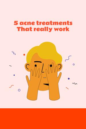 Acne treatment ad with Man touching face Pinterest – шаблон для дизайну