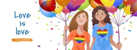 Modèle de visuel Pride Month with Two Girls holding Hands - Facebook cover