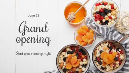 Breakfast Offer Honey and Dried Fruits Granola FB event cover Design Template
