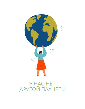 Woman holding Planet Earth T-Shirt – шаблон для дизайна