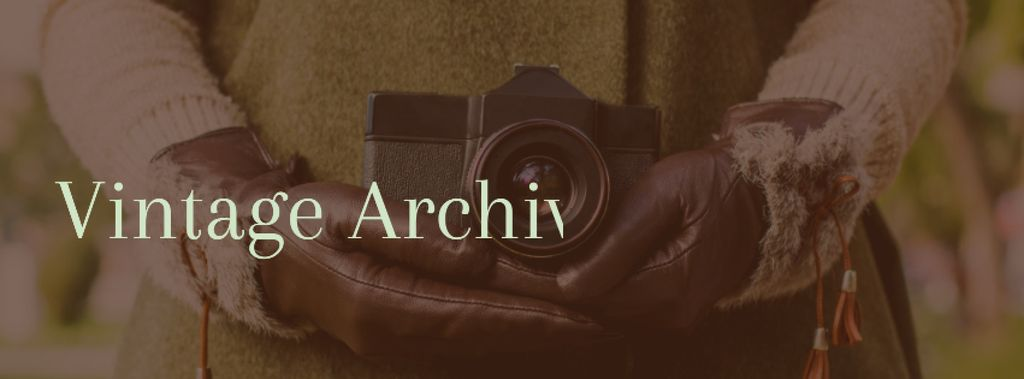 Vintage archives with Woman holding old Camera — Crear un diseño