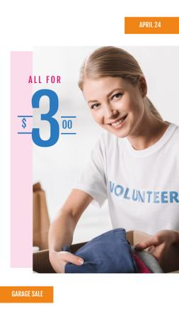 Charity Sale Announcement with Volunteer and Clothes Instagram Story – шаблон для дизайна