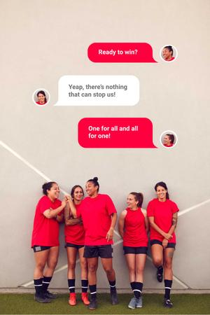 Plantilla de diseño de Successful Girls' Football team Pinterest