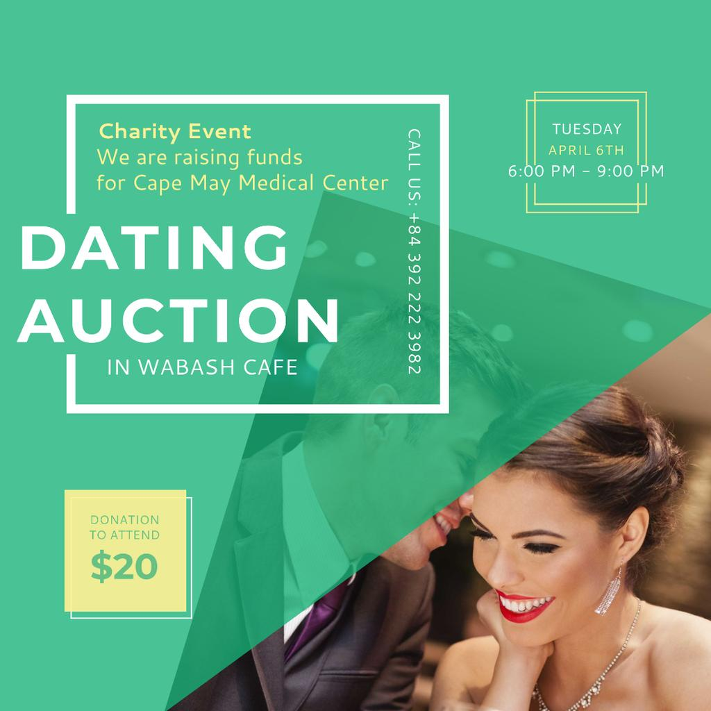 Plantilla de diseño de Smiling Woman at Dating Auction Instagram AD