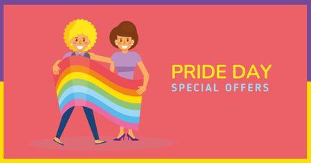 Ontwerpsjabloon van Facebook AD van Pride Day Special Offer with LGBT Couple