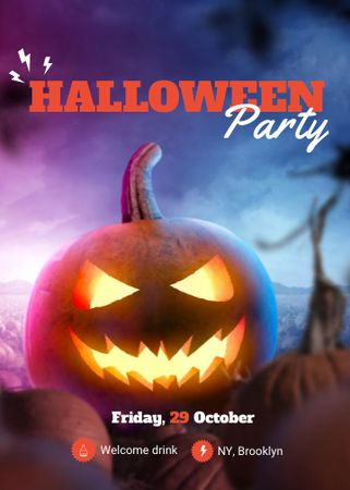 Halloween Party Announcement with Spooky glowing Pumpkin Invitation – шаблон для дизайна