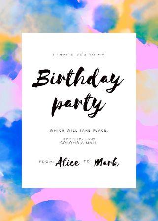 Template di design Birthday Party Announcement on Bright Watercolor Pattern Invitation