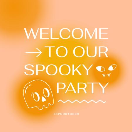 Party on Halloween Announcement with Skull Illustration Animated Post – шаблон для дизайна