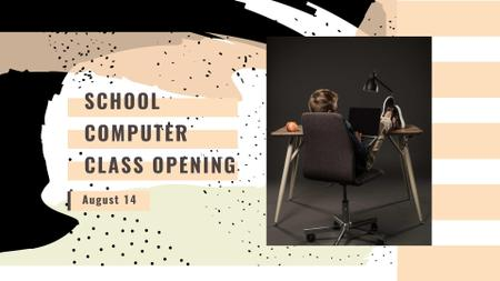 School Computer Class Opening Announcement FB event coverデザインテンプレート