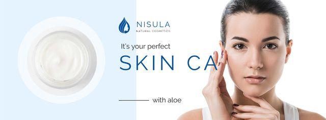 Plantilla de diseño de Skincare Offer with Tender Woman Facebook cover