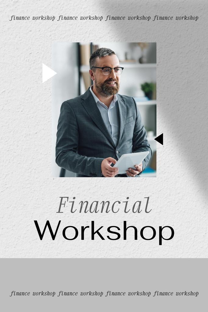 Financial Workshop promotion with Confident Man Pinterest – шаблон для дизайну