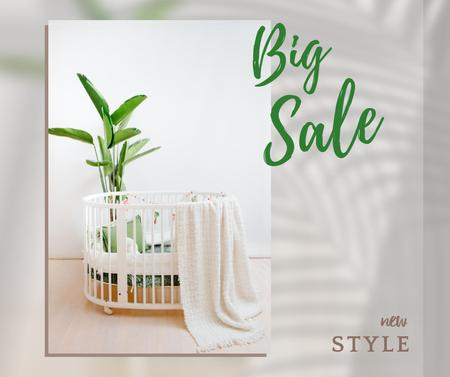 Ontwerpsjabloon van Facebook van Sale Offer Announcement with Cot in Cozy Nursery
