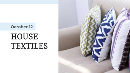 Home Textiles Ad Pillows on Sofa FB event cover Design Template