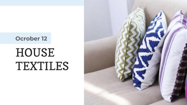 Home Textiles Ad Pillows on Sofa FB event cover Modelo de Design