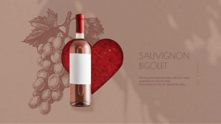Valentine's Day Bottle of Wine on Red Heart Full HD video Modelo de Design
