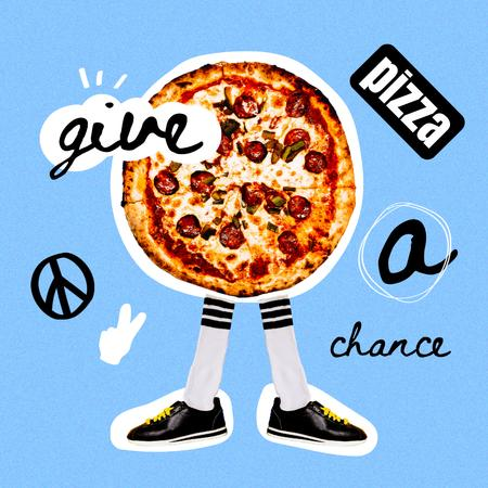 Modèle de visuel Funny Illustration of Pizza with Legs - Instagram