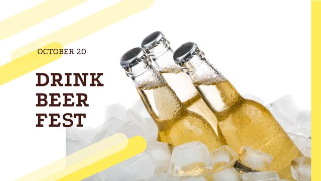 Beer Fest Announcement with Bottles in Ice FB event cover – шаблон для дизайна