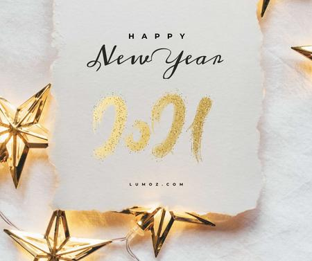 Ontwerpsjabloon van Facebook van New Year greeting with golden Stars