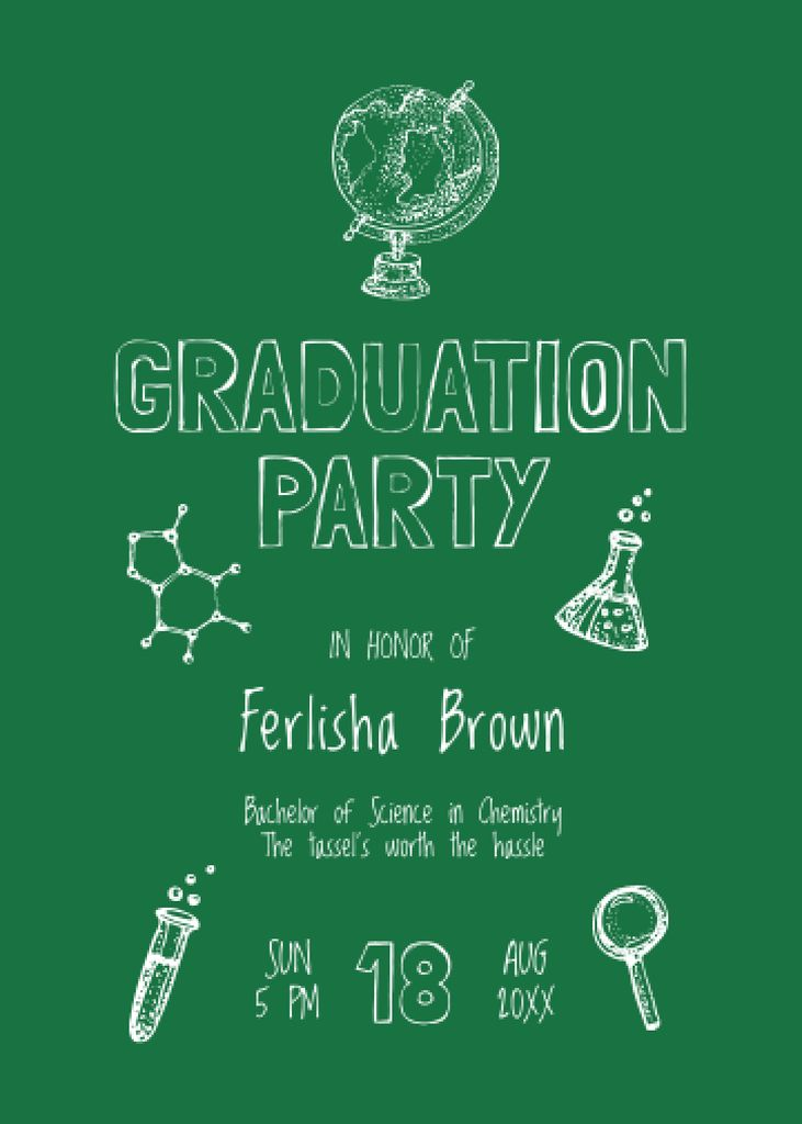 Graduation Party Announcement with Science Icons Invitation – шаблон для дизайну