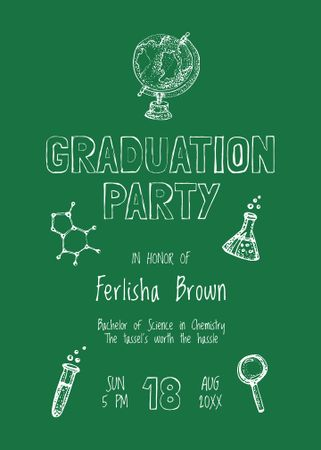 Graduation Party Announcement with Science Icons Invitation – шаблон для дизайна