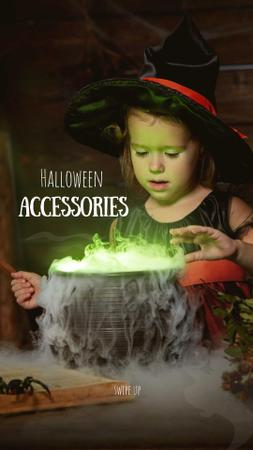 Halloween Accessories Offer with Girl in Witch Costume Instagram Story Modelo de Design
