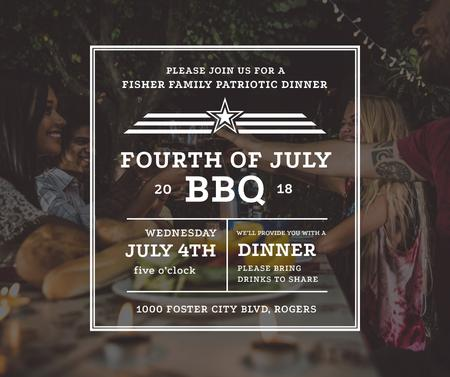 BBQ party on USA Independence Day Facebook Design Template