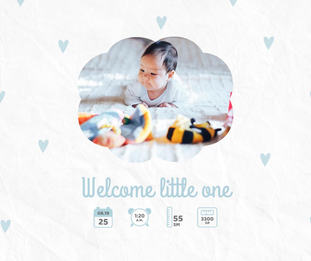 Cute Newborn Baby lying with Toys Facebook Modelo de Design