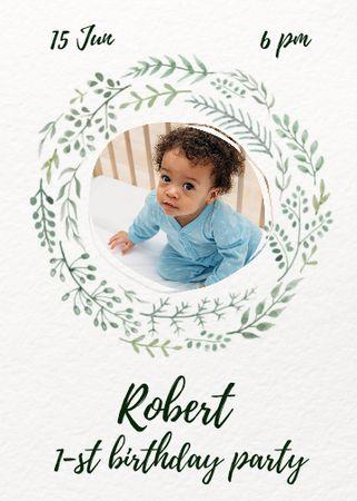 First Birthday Party of Little Boy Announcement Invitation – шаблон для дизайну