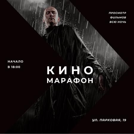 Film Marathon Ad Man with Gun under Rain Instagram AD – шаблон для дизайна