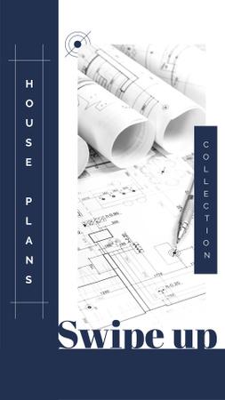 Szablon projektu Building company Ad with House blueprints Instagram Story
