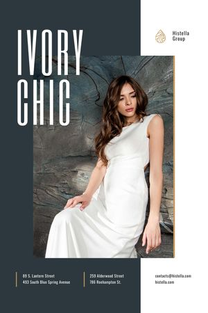 Young Woman in Tender white Dress Tumblr Design Template
