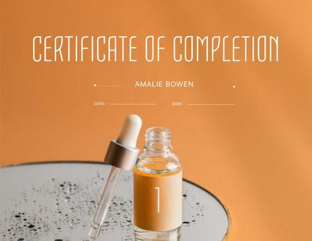 Beauty Course Completion Award with Cosmetic Oil Jar Certificate – шаблон для дизайну