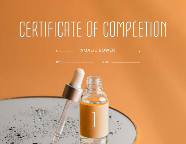 Beauty Course Completion Award with Cosmetic Oil Jar Certificate Design Template
