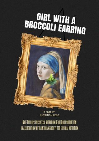 Designvorlage Funny Illustration of Girl with Broccoli Earring für Poster