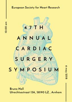 Medical Event Announcement with Anatomical Heart Sketch