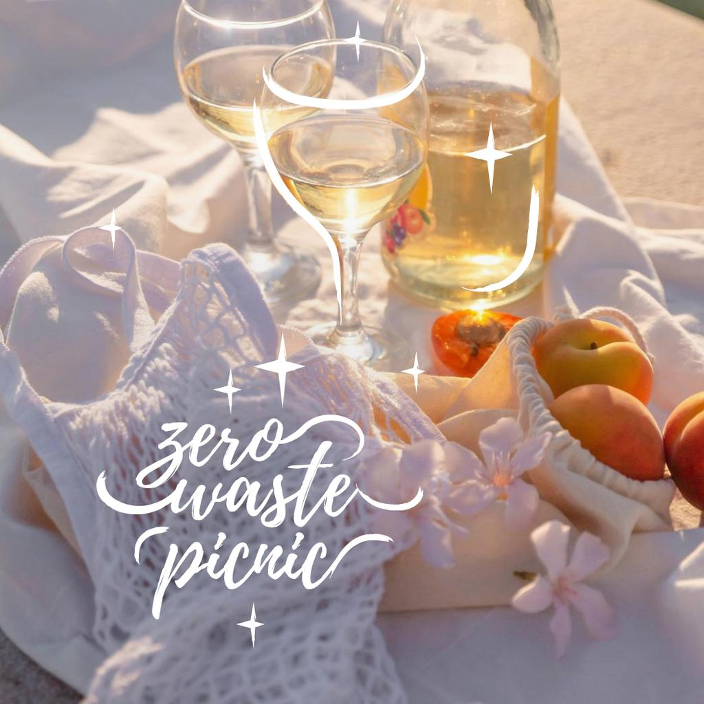 Designvorlage Zero Waste Picnic with White Wine and Apricots für Instagram