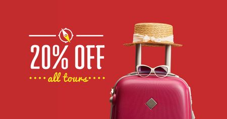 Travel Tours sale Suitcase and Hat in Red Facebook AD Modelo de Design
