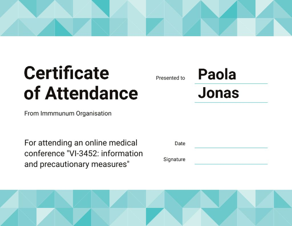 Science Online Conference attendance Certificateデザインテンプレート