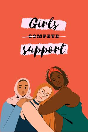 Plantilla de diseño de Girl Power Inspiration with Diverse Women Pinterest