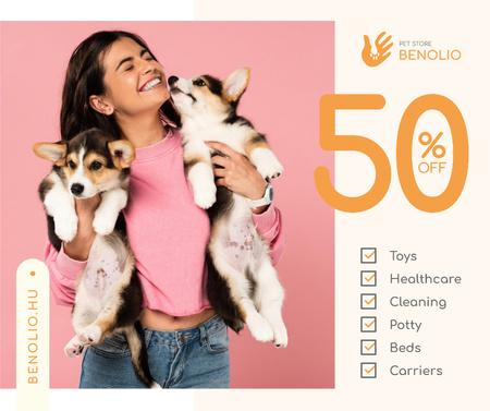 Ontwerpsjabloon van Facebook van Pet store sale cute Corgi Puppies