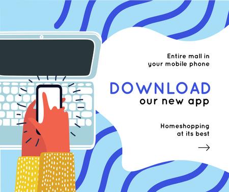 Plantilla de diseño de Online Shopping Offer with Man pressing screen Facebook