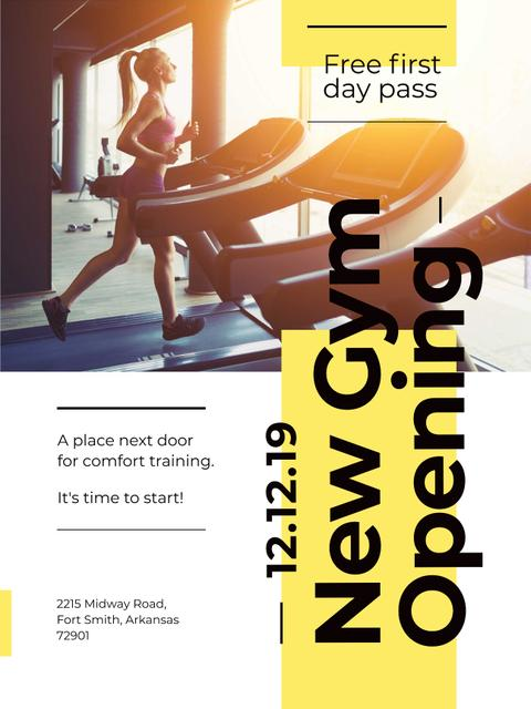 Ontwerpsjabloon van Poster US van Gym Ticket Offer with Woman on Treadmill