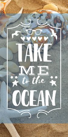 Plantilla de diseño de Travel inspiration with Shells on Sand Graphic