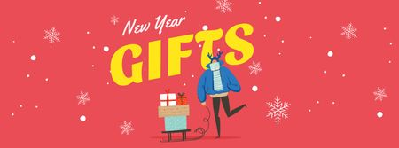 New Year Gifts with Cute Deer Facebook cover Modelo de Design