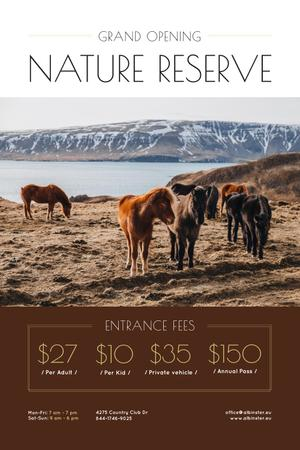 Nature Reserve Opening Announcement with Herd of Horses Pinterest Design Template