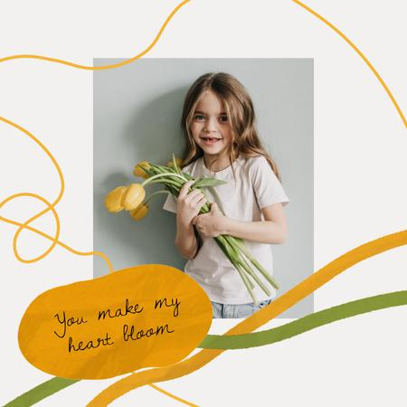 Cute Little Girl with Yellow Tulips Animated Post Tasarım Şablonu