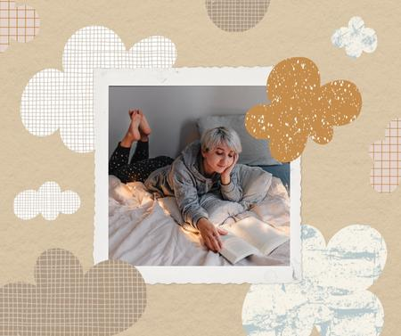 Autumn Inspiration with Girl reading Book in Bed Facebook – шаблон для дизайна