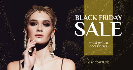 Black Friday Sale Woman in Glamorous Dress Facebook AD – шаблон для дизайну