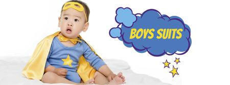 Plantilla de diseño de Boys Suits Sale Offer with Cute Infant Facebook cover