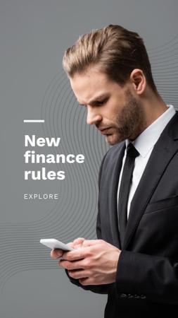 Designvorlage Man with Phone for Finance rules für Instagram Story